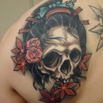 Geisha skull japanese tattoo