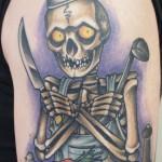skeleton chef color tattoo