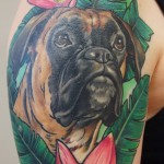 Boxer dog portrait color tattoo