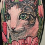 cat color portrait tattoo