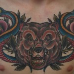 Chestpiece bear and snakes color tattoo by Matzon,