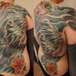 Whale backpiece color tattoo