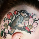 head tattoo, lintutatuointi, lintu ja kukkia, päätatuointi, color tattoo, flowers and bird, apple blossom tattoo, neo traditional tattoo