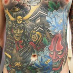 Samurai Hannya Temple japanese stomach tattoo