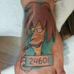 Simpsons, simpsons tattoo, comic tattoo, neo traditional tattoo, color tattoo, foot tattoo, zombie tattoo, matzon