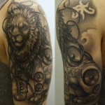 Music lion b&g tattoo