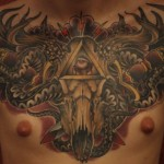 chestpiece tattoo colour skull neo traditional tattoo