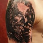 Bukowski portrait b&g tattoo