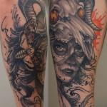 tatuointi kerava, tatuointi järvenpää, tatuointi tuusula, tatuointi sipoo, Muerte lady skull b&g tattoo