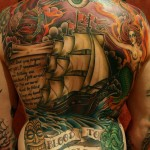 Ship backpiece color tattoo by Matzon, Zombie Tattoo