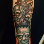 classic monsters color tattoo by Matzon, Zombie tattoo