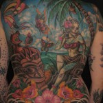 tiki hula backpiece color tattoo by matzon zombie tattoo