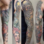 Owl sleeve color tattoo by Matzon