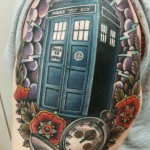 tardis, tardis tattoo, dr who, dr who tattoo, neo traditional tattoo, old school, color tattoo, zombie tattoo, zombie tattoo helsinki, matzon, pocket watch