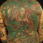 Japanese tattoo backpiece samurai and dragon