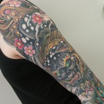 Foo dog tattoo, oriental tattoo, sleeve, sleeve tattoo, japanese, japanese tattoo, japanese sleeve, zombie tattoo, matzon,