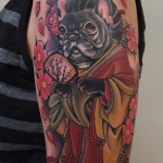 geisha french bulldog tattoo