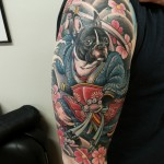 boston terrier tattoo, samurai tattoo, japanese tattoo, oriental tattoo, boston terrier samurai, zombie tattoo, matzon