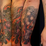 cover up foo dog tattoo