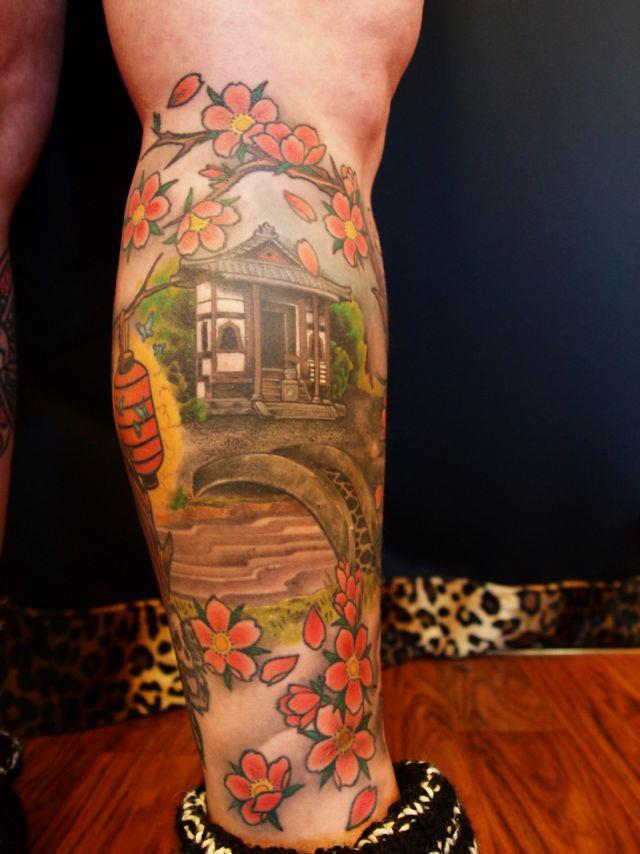 oriental leg sleeve tattoo
