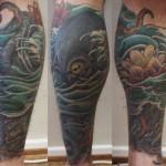 oriental tattoo leg tattoo octopus