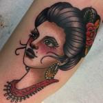 Lady tattoo, lady head, tattoo, tattoos, tatuointi, neo traditional tattoo, neotrad tattoo, Salla tattoo art, Zombie tattoo, Zombie Tattoo Helsinki, color tattoo, old school tattoo,