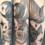 dotwork, dotwork tattoo, blackwork , blackwork tattoo, gold fish tattoo, animal tattoo, gold fish, zombie tattoo, zombie tattoo helsinki, zombie tattoo Salla