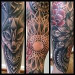 dotwork, dotwork tattoo, leg sleeve, full leg tattoo, blackwork tattoo, mandala tattoo, mandalatatuointi, mandala, zombie tattoo, zombie tattoo helsinki