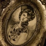 painting, art, tattoo, lady, black & grey