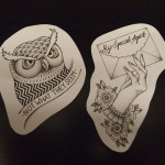 drawing, tattoo design, twin peaks, owl, letter, neo traditional,