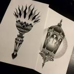 Art Tattoo Drawign Painting Tattoo design lantern torch