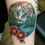 traditional tattoo, neo traditional tattoo, mountain tattoo, rocky mountain tattoo, mountain view tattoo, rocky mountain view, neo traditional tattoo, traditional tattoo, zombie tattoo, zombie tattoo helsinki, tatuointi, vuoristomaisema