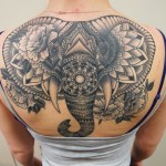 mandala tattoo, elephant tattoo, backpiece, black & grey tattoo, elephant, norsu , norsutatuointi