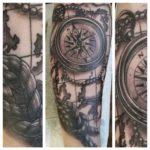 B&G tattoo, bng tattoo, black and grey tattoo, mustaharmaa tatuointi, kompassi tatuointi, kartta tatuointi, zombie tattoo, zombie tattoo helsinki, zombie tattoo kerava, tatuointi kerava, tatuointi järvenpää, tatuointi uusimaa, matzon, zombiematzon, tattoomatzon, matzon tatuointi,