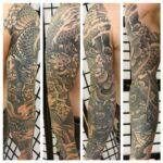 black and gray tattoo, mustaharmaa tatuointi, japanese sleeve, sleeve tattoo, hiha tatuointi, japanilainen tatuointi, japanese tattoo, japanese tattoo in finland, japanilaiset tatuoinnit, custom tattoo, helaed tattoo, parantunut tatuointi, samurai tatuointi, tatuointi suomi, tatuointi kerava, tatuointiliike kerava, tatuointi keski-uusimaa,